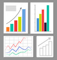 set of four charts colorful vector image vector image