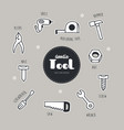 Set of tools icons doodle
