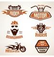 set vintage motorcycle labels badges and design vector image vector image