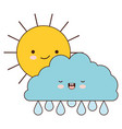 sun and cloud with drops rain colorful kawaii vector image vector image