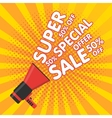 Super sale banner Announcement megaphone vector image vector image