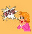 surprised female customer girl character shocked vector image
