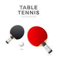 table tennis rockets ball ping pong vector image vector image