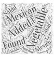 What are some Vegetables found in Mexico Word vector image vector image