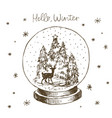 winter snow globe with christmas tree deer and vector image