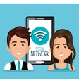 woman man smartphone wifi network isolated vector image vector image