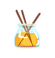 wooden aroma sticks in glass jar with oil vector image