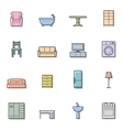 Colorfull home furniture isolated icons set vector image