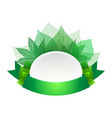 template with green ribbon and leaves and space vector image