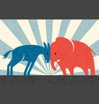 donkey and elephant butting heads vector image