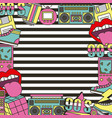 90s patches fashion poster frame decoration vector image
