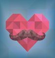 Abstract Hipster Moustache on Heart Background vector image vector image