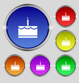 Birthday cake icon sign Round symbol on bright vector image vector image