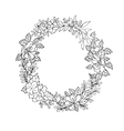 Black and white floral wreath vector image