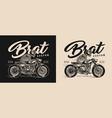 brat style motorcycle vintage label vector image vector image