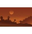 Brown bakcgrounds graveyards Halloween silhouette vector image vector image