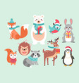christmas cute woodland animals vector image vector image