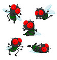 collection of cute little cartoon flies vector image vector image