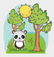 cute panda on forest vector image vector image