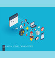 development integrated 3d web icons growth and vector image vector image