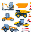 different road construction machines and equipment vector image