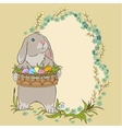 Easter bunny holding a basket with eggs Retro vector image vector image