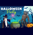 halloween werewolf and wizard making potion vector image vector image