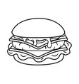 hamburger icon cartoon black and white vector image