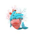 heart healthy ecology ocean or sea vector image vector image