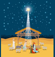 holy family in stable with wise kings manger vector image vector image