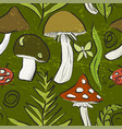 ink hand drawn seamless pattern with mushrooms vector image vector image