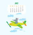 july calendar page with cute rat in travel vector image