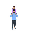 man holding little girl on his shoulders father vector image