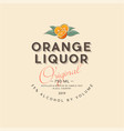 orange liquor label vintage packaging alcohol vector image vector image