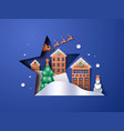 paper cut christmas winter city santa claus sled vector image
