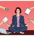 Pop Art Business Woman Meditating on the Table vector image vector image