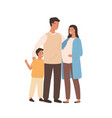 positive young family mother father and son vector image vector image
