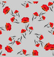 red seamless pattern with poppy floral background vector image vector image