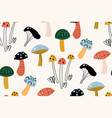 seamless pattern with decorative mushrooms in the vector image vector image