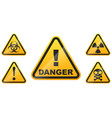 set glossy danger signs isolated on white vector image vector image