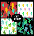 set of cacti seamless patterns vector image vector image