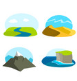 set of landscape icons vector image