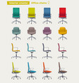 set of office chairs cartoon vector image