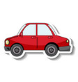 sticker template with a red car isolated vector image