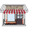store facade with sunshade in watercolor vector image