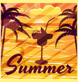 summer palm trees sea evening cocktail banner vector image vector image