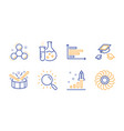 throw hats search and development plan icons set vector image vector image