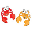 two cartoon crabs vector image vector image