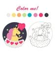 unicorn on a cloud color book vector image