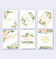 wedding invitation floral card flowers frames vector image vector image
